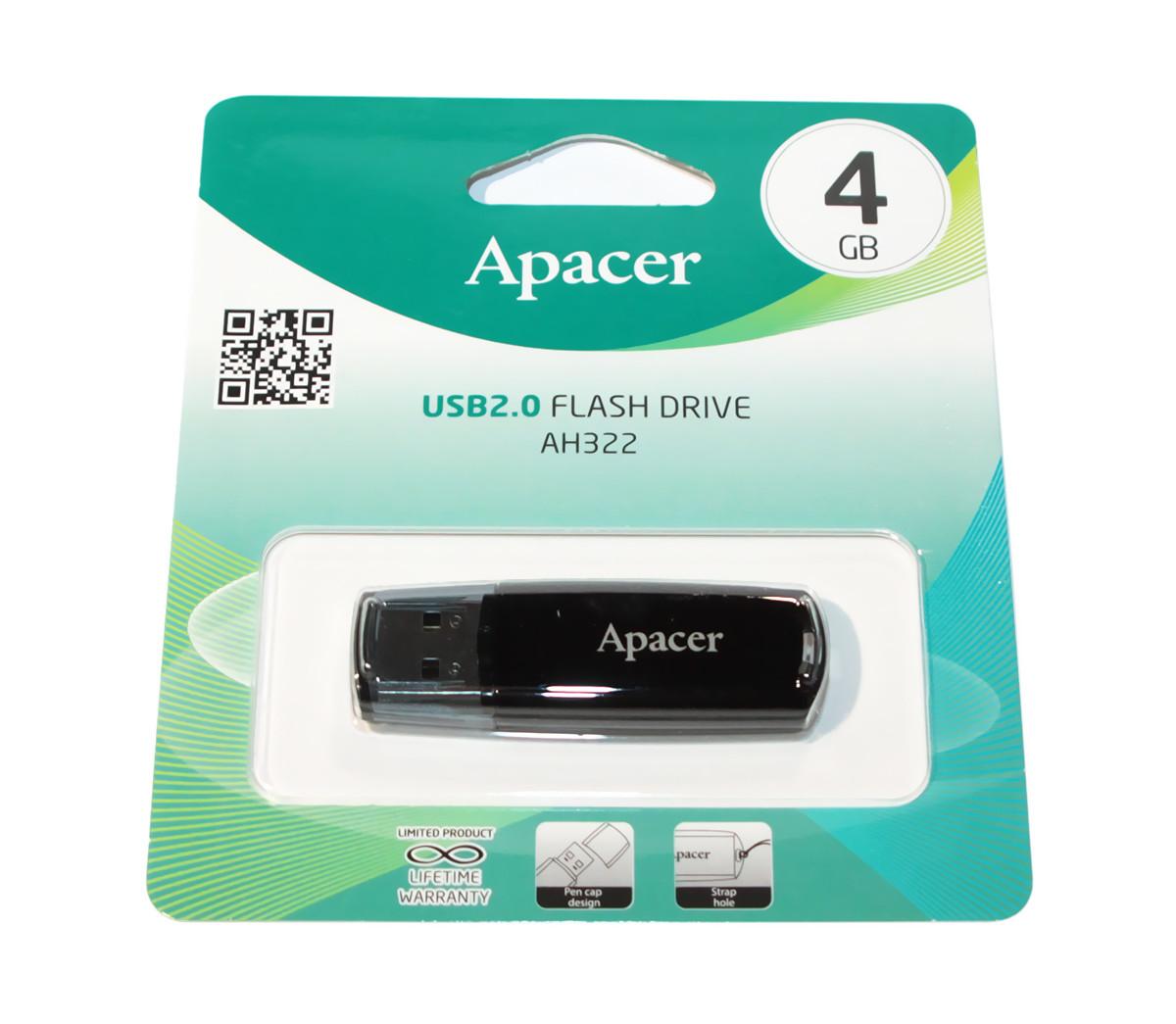 Флешка 4 Gb Apacer AH322 Black, AP4GAH322B-1
