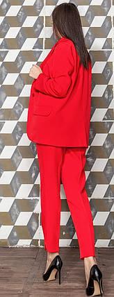Женский костюм пиджак с укороченными брюками красного цвета Скарлетт 42-48 р, фото 2