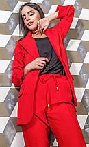 Женский костюм пиджак с укороченными брюками красного цвета Скарлетт 42-48 р, фото 3