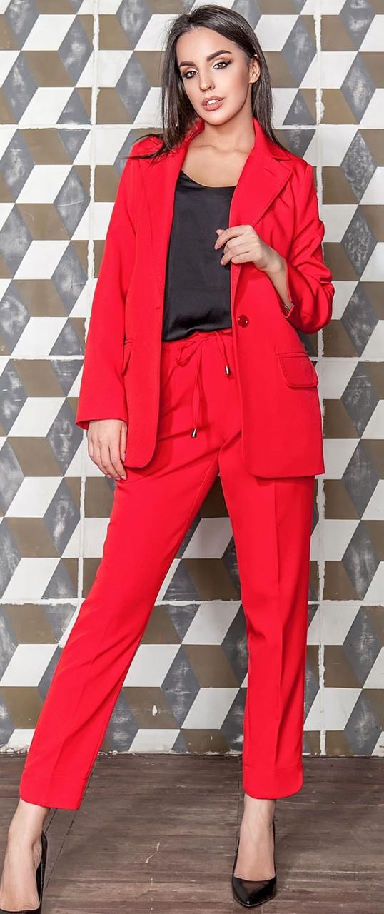 Женский костюм пиджак с укороченными брюками красного цвета Скарлетт 42-48 р