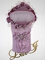 """Демисезонный нарядный конверт """"Милена"""", лаванда-розовый"""