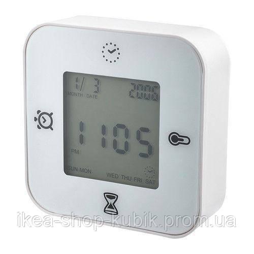 """ІКЕА """"КЛОККИС"""" Годинник/термометр/будильник/таймер, білий"""