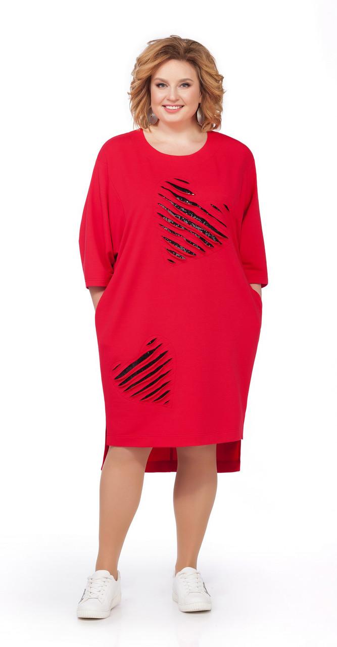 Платье Pretty-842 белорусский трикотаж, красный, 56