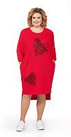 Платье Pretty-842 белорусский трикотаж, красный, 56, фото 1