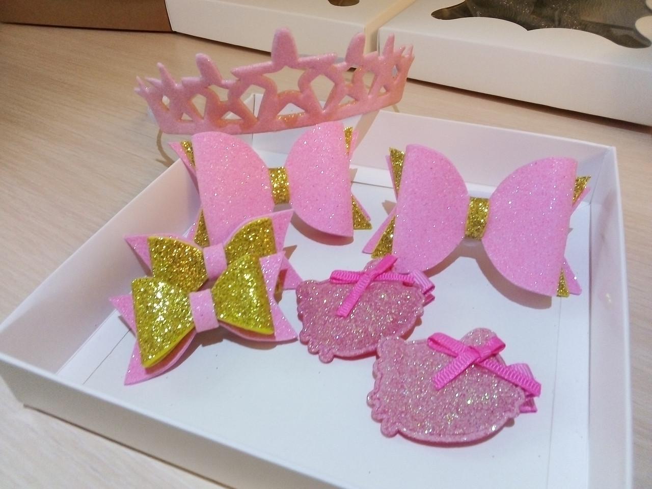 29ce1830468b Набор детских аксессуаров для волос девочки Hello Kitty розовый  (заколки+резинки)