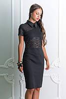 (M / 44-46) Класичне чорне плаття з органзою Amanda