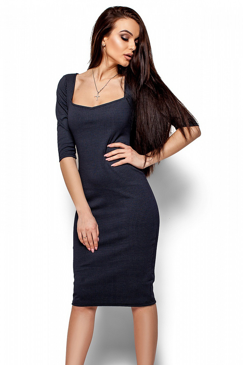 (S, M) Витончене класичне темно-синє плаття Hiser