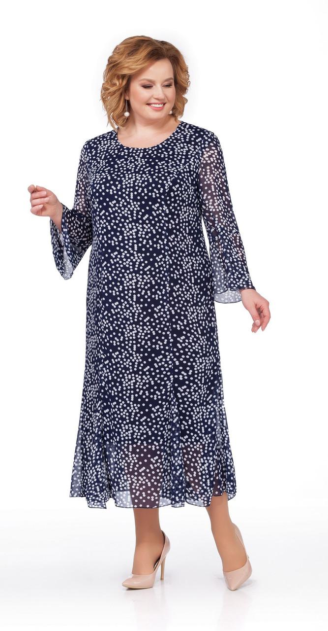 Платье Pretty-857 белорусский трикотаж, синий, 56