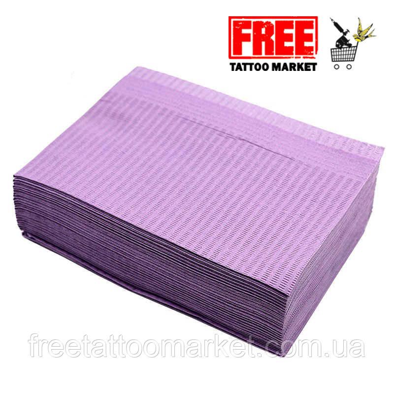Салфетки трехслойные текстурированные 450 х 330 мм (сиреневые)