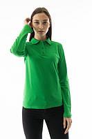 Футболка поло женская с длинным рукавом салатового цвета