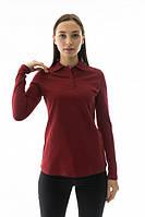 Футболка поло женская с длинным рукавом бордового цвета