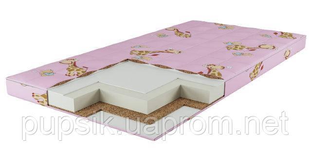 Детский матрас КПГ (кокос-поролон-гречка) розовый 7см