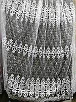 Тюль (фатиновая основа) с вышивкой Высота 2.8 м на метраж и опт, фото 1