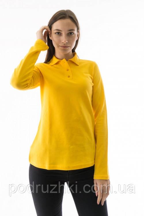 Футболка поло женская с длинным рукавом желтого цвета
