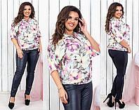 Блуза Цветы в расцветках 35380, фото 1
