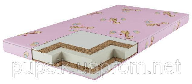Матрас для новорожденного КПК (кокос-поролон-кокос) розовый 7см