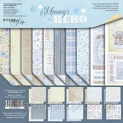 Набор двусторонней бумаги 20х20см от Scrapmir Mommy's Hero 10шт