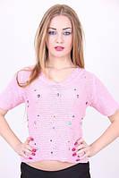 Молодежная вязаная футболка с камушками в расцветках, фото 1