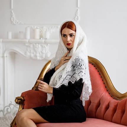 Оренбургский молочный пуховый платок Аврора 115 см, фото 2