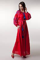 """Довгачервона сукня з клинами з вишитим візерунком """"Цвіт папороті"""""""