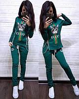 Костюм спортивный турецкая двухнитка, зеленый, фото 1