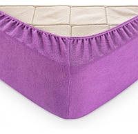 Натяжная махровая простынь на резинке с наволочками (Фиолет) Турция