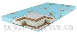 Матрас в детскую кроватку КПК (кокос-поролон-кокос) голубой 10см