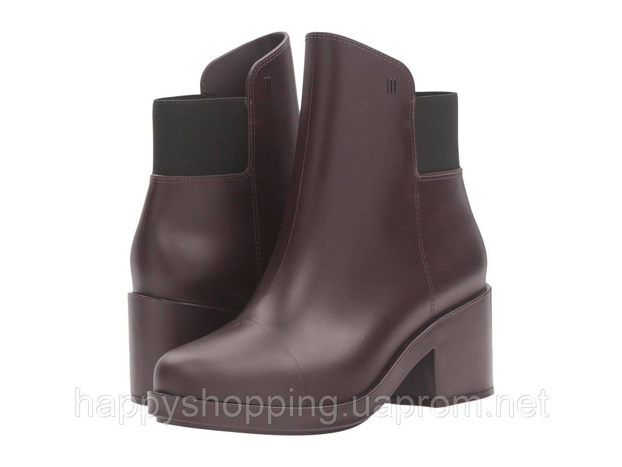 Женские пахнущие бордовые ботинки на каблуке популярного бразильского бренда  Melissa