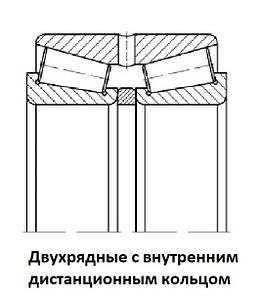097ХХХ Подшипники двухрядные роликовые конические с внутренним дистанционным кольцом