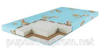 Матрас для кроватки КПГ (кокос-поролон-гречка) голубой 7см