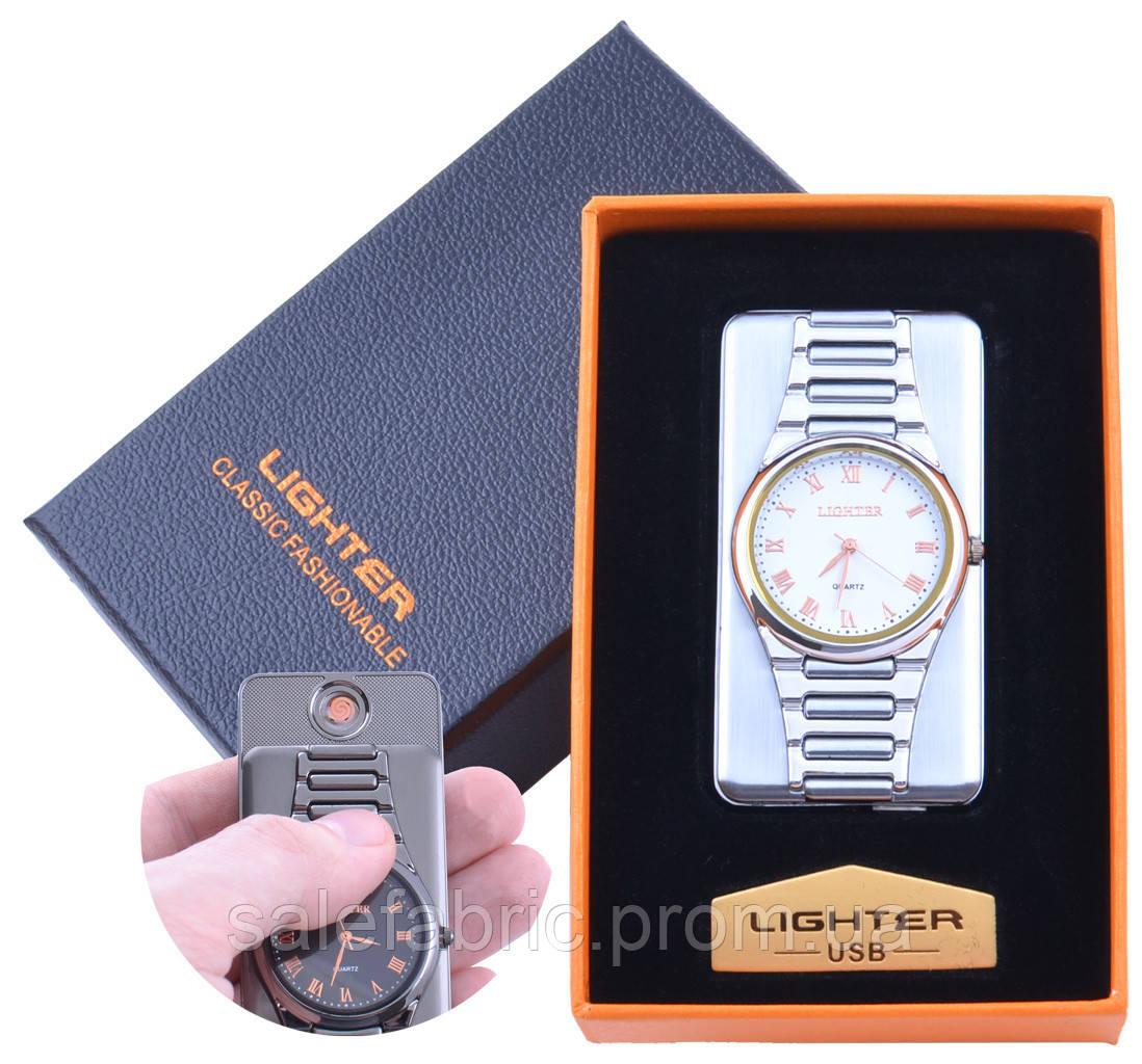 USB  зажигалка с часами в подарочной упаковке LIGHTER (Cпираль накаливания) №XT-4957-2