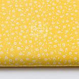 """Лоскут ткани """"Микро цветочки"""" белые на жёлтом  №1656а, фото 2"""