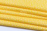 """Лоскут ткани """"Микро цветочки"""" белые на жёлтом  №1656а, фото 6"""
