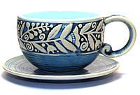 Кофейный керамический набор, Украинская керамическая посуда, кофейная чашка с блюдцем