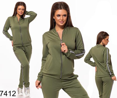 Трикотажный женский спортивный костюм (хаки) 827412