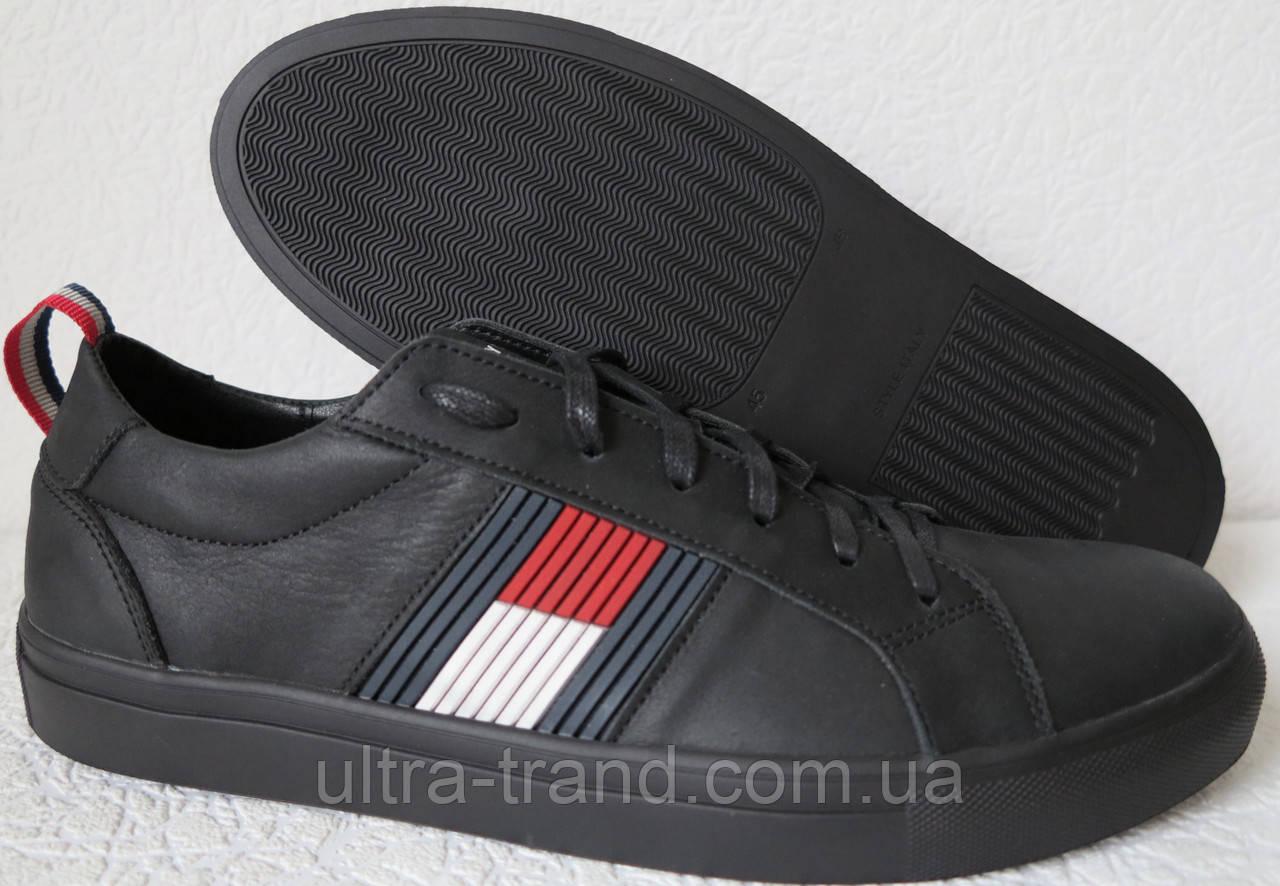 Супер! Tommy Hilfiger  кожаные чёрные кеды! Туфли мужские