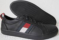 Супер! Tommy Hilfiger  кожаные чёрные кеды! Туфли мужские, фото 1