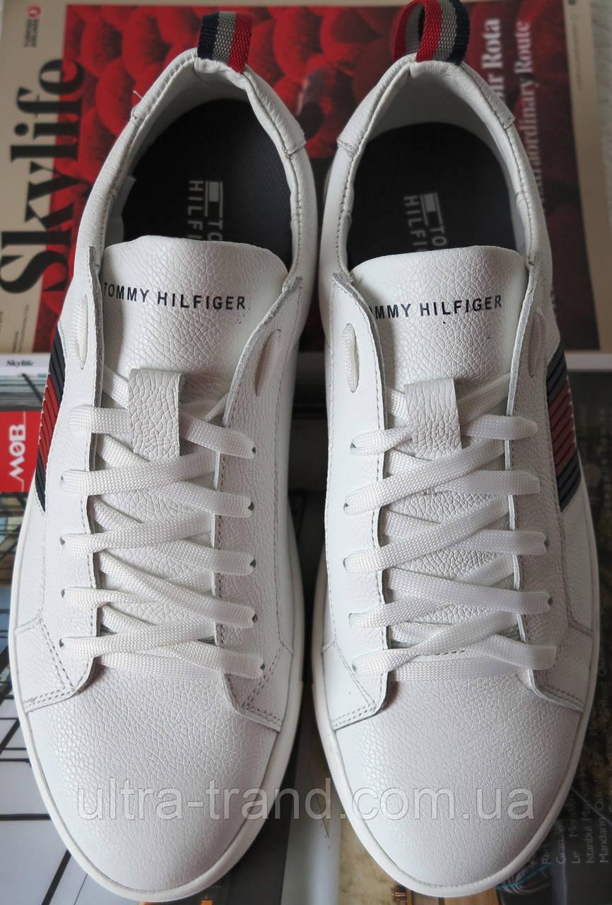 7cce16f78100 Стиль! Tommy Hilfiger кожаные белые кеды! Туфли мужские кроссовки