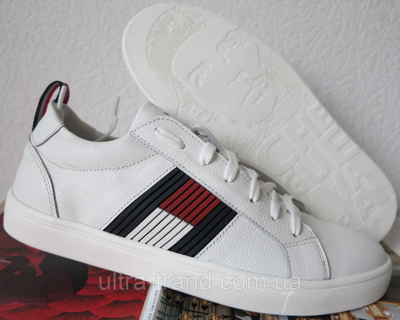 0b488d249174 Стиль! Tommy Hilfiger кожаные белые кеды! Туфли мужские кроссовки