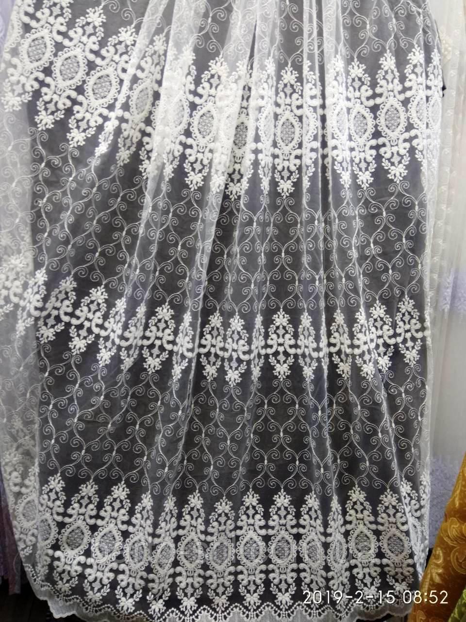 Фатиновая тюль с красивой вышивкой Высота 2.8 м на метраж и опт