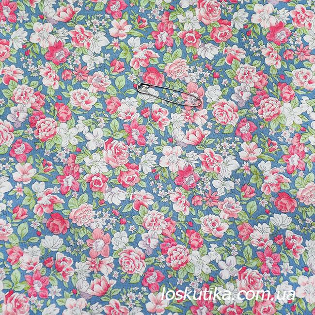 48002 Розовый аромат. Ткань с набивным рисунком. Ткани с цветочками для кукол, рукоделия, декора и шитья.