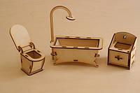 Мебель для кукольного домика. Набор - Ванная комната. Деревянная мебель для куклы.