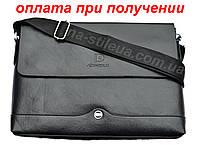 Чоловіча шкіряна брендова сумка через плече для документів А4 портфель POLO, фото 1
