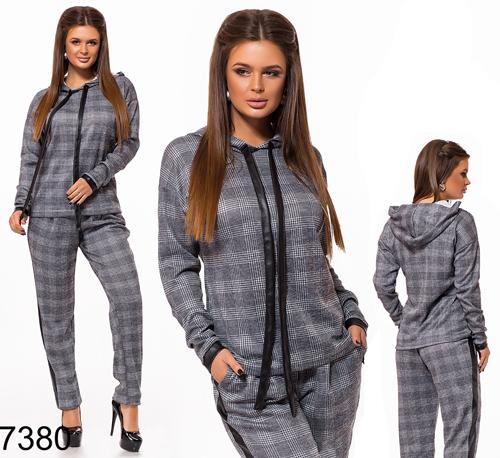 1536f5d11ec Модный брючный костюм вставки экокожи (серый) 827380 купить недорого ...