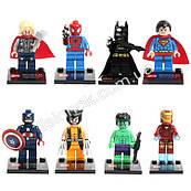 Набор конструкторов 8 шт.: Тор, Человек-паук, Бэтман, Супер-мен, Кап.-Америка, Россомаха, Халк, Железный челов