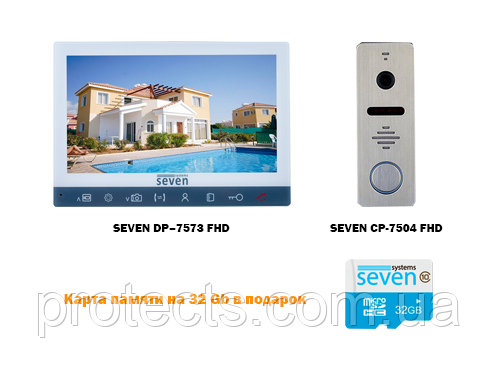 Комплект домофона SEVEN DP–7573FHD с вызывной панелью SEVEN CP-7504FHD