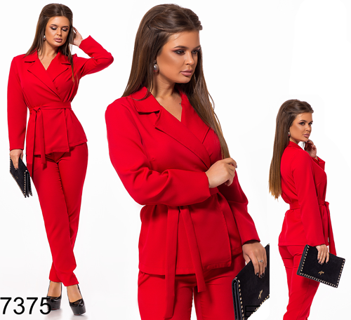 d257ce01b210553 Вечерний брючный костюм с жакетом (красный) 827375 - СТИЛЬНАЯ ДЕВУШКА  интернет магазин модной женской