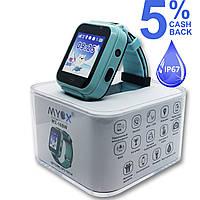 Детские водонепроницаемые GPS часы MYOX МХ-16BW синие (камера+фонарик)