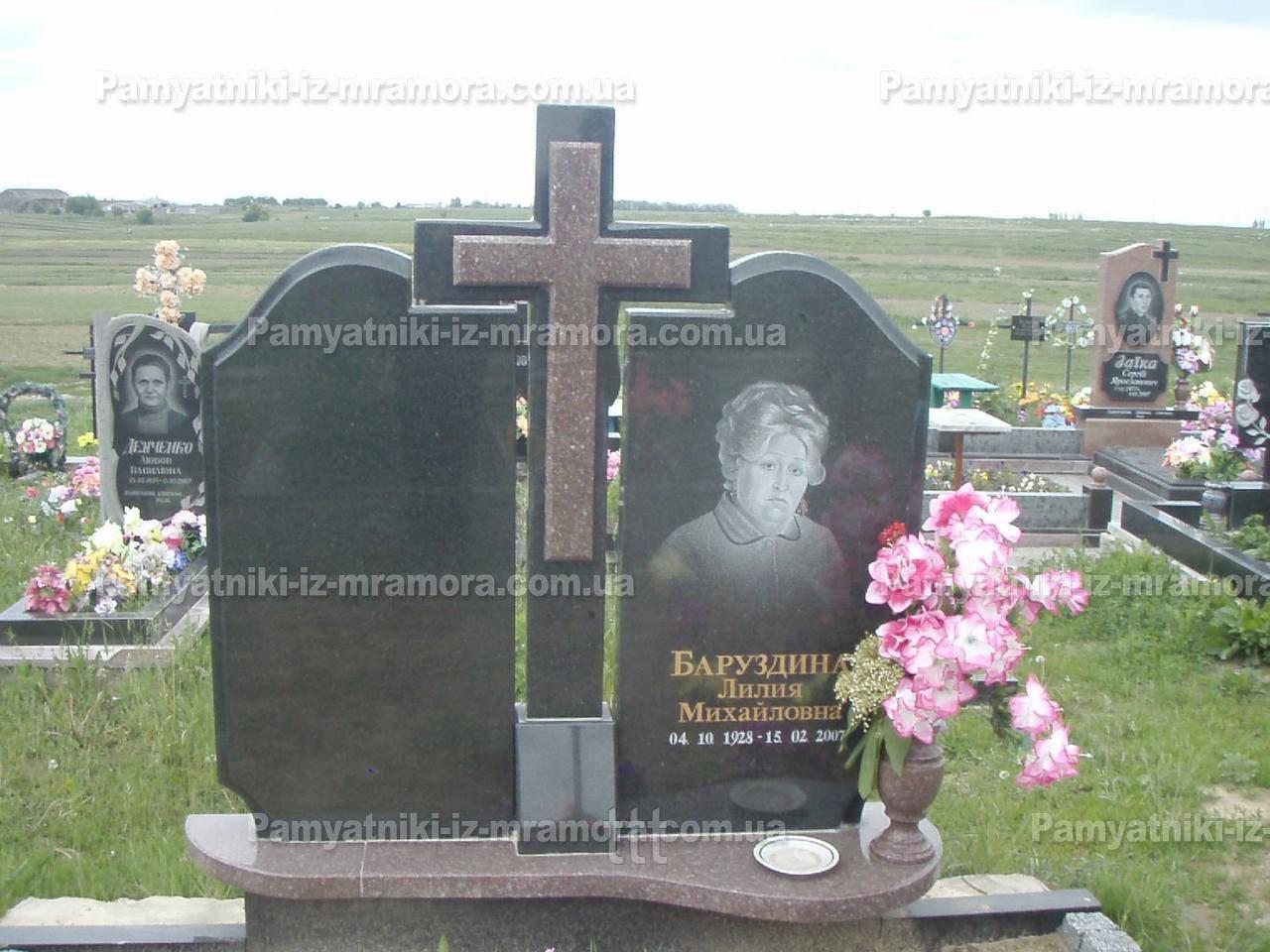 Двойное надгробие   с крестом из гранита № 50