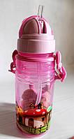 Детская поилка - непроливайка с ремешком и силиконовой соломинкой. Розовая